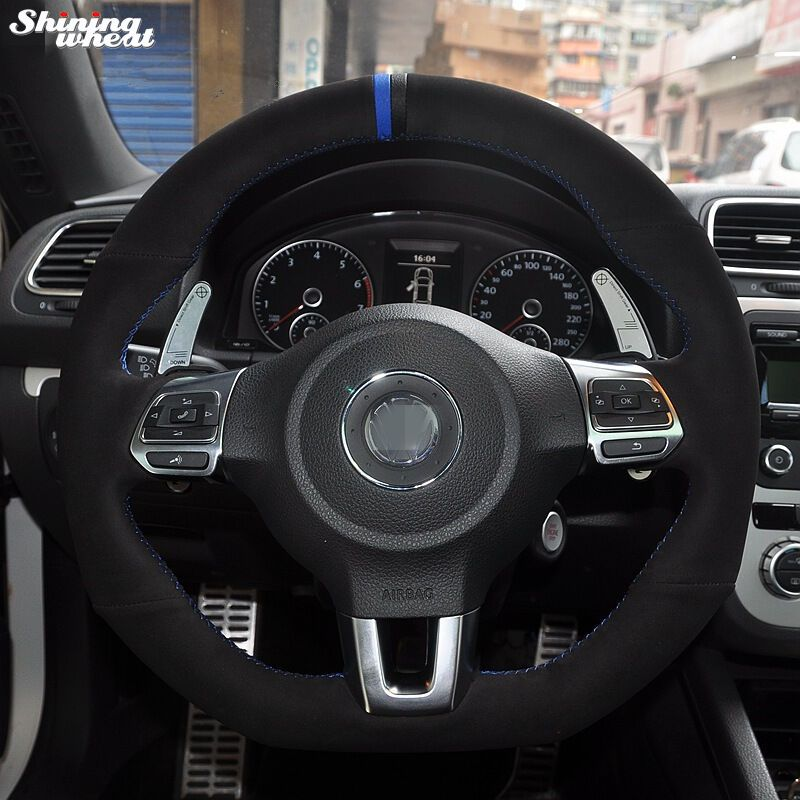 Black Suede Blue Black Marker Car Steering Wheel Cover for Volkswagen Golf 6 GTI MK6 VW Polo GTI Scirocco R Passat CC R-Line