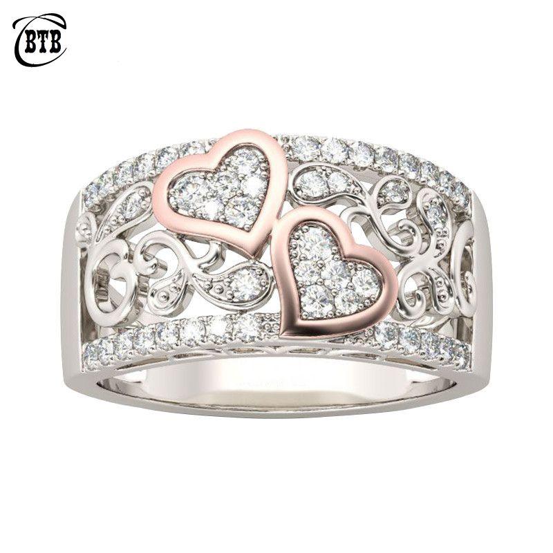 Conception de bijoux de mode anneau de bande de mariage pour les femmes couleur or Rose CZ pierre femme anneau de doigt amour cadeaux livraison directe