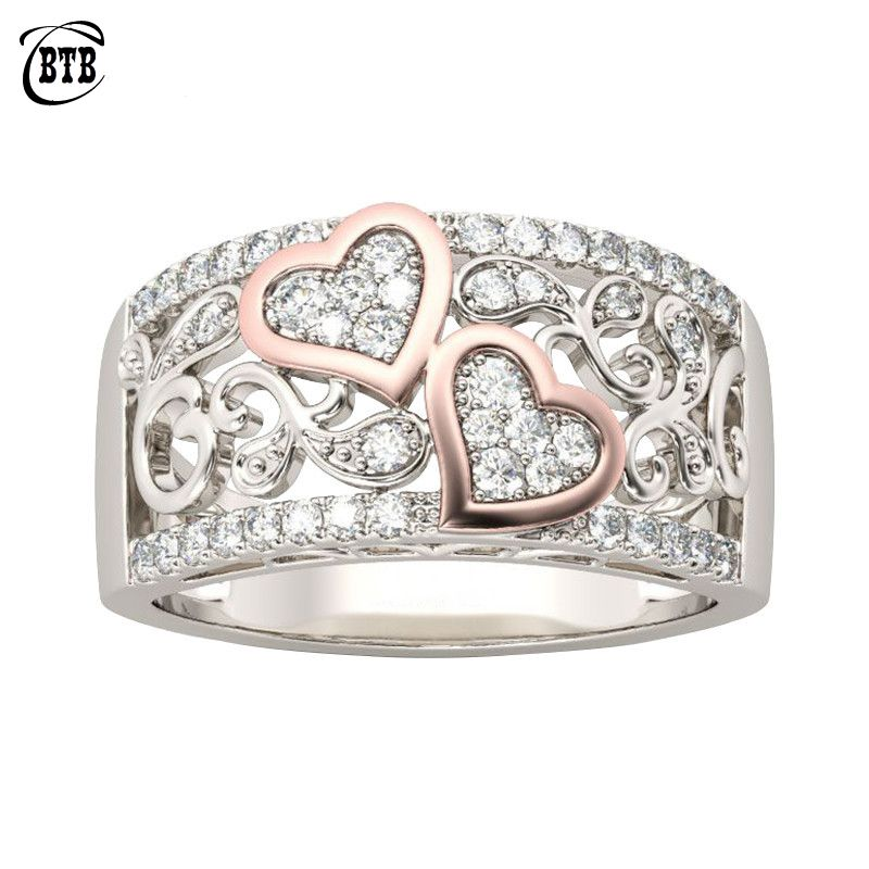 Fashion Jewelry Design Wedding Band Ring for Women Rose Gold Color CZ Stone Female Finger Ring Love Gifts Drop Shipping
