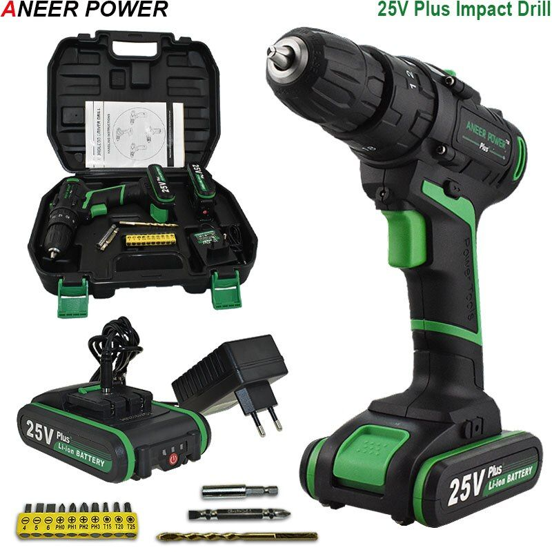 25V Battery Impact Drill Home DIY Station Electric Hammer Drill Multifuctional Electric Cordless Drill Electric Screwdriver