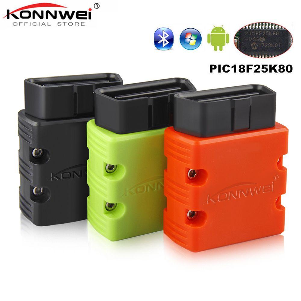 KONNWEI Elm327 V1.5 Bluetooth KW902 OBD2 Elm 327 V 1.5 OBD 2 voiture outil de Diagnostic Scanner V1.5 puce PIC18F25K80 ELM327 sur Android