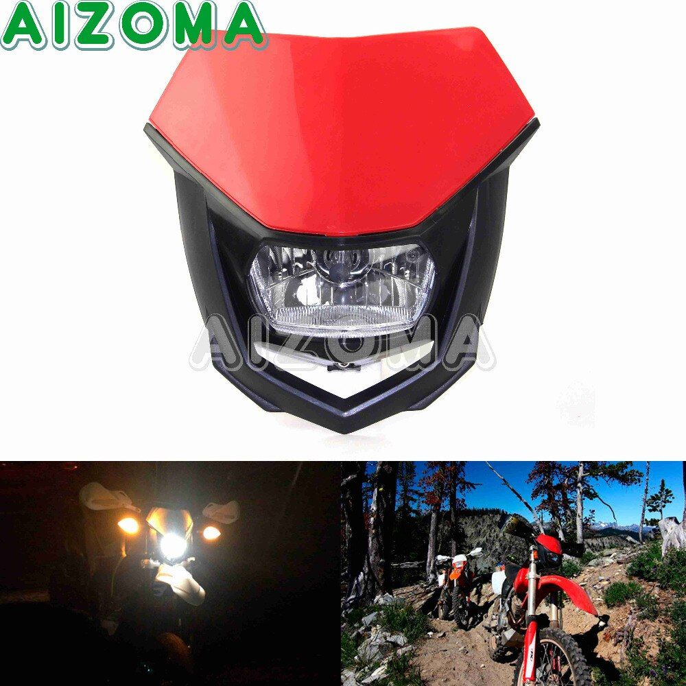 Dirtbike Supermoto Lighting Assembly Motorcycle Headlight Blubs Red Enduro For Yamaha Honda CRF 80F 100F 125 150 230 250R 450R