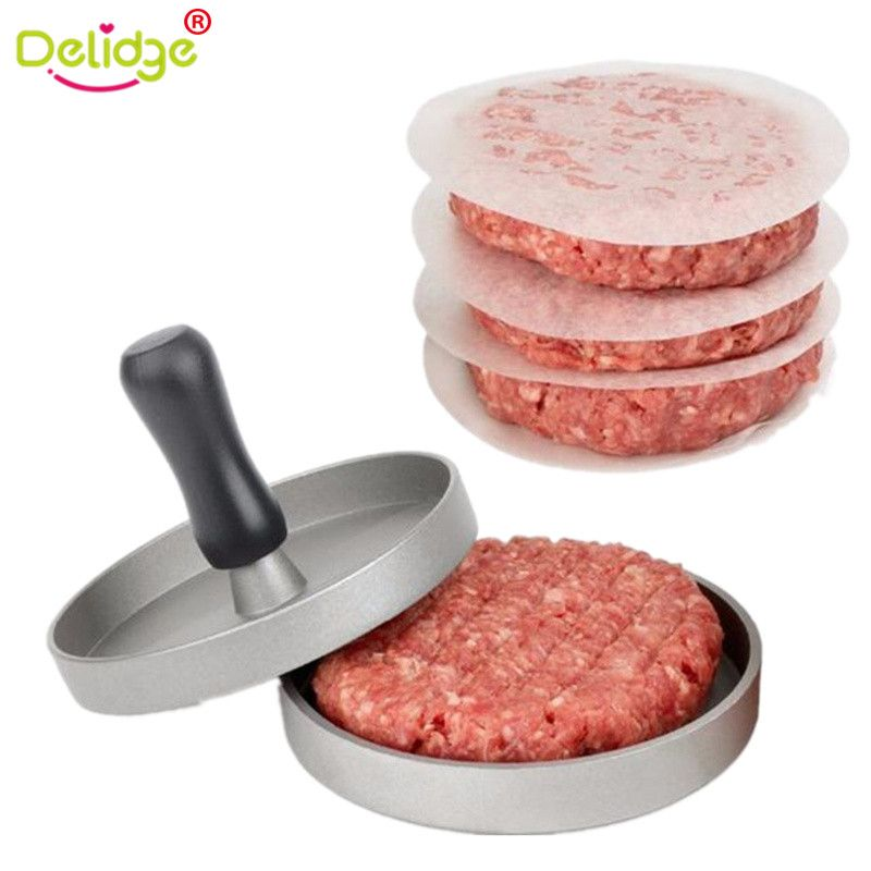 Delidge 1 Set Round Shape Hamburger Press Aluminum Alloy 11 cm Hamburger Meat Beef Grill Burger Press Patty Maker Mold