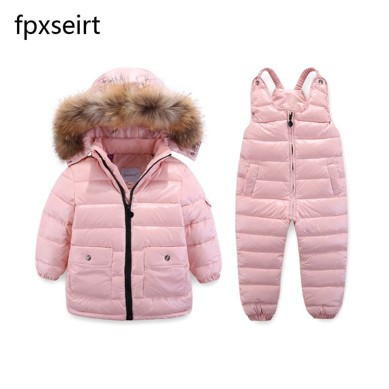 Children's Clothing Winter Jacket For Girls Boys White Duck <font><b>Down</b></font> Jacket+Pants Suit Solid Thick outerwear & coats Waterproof