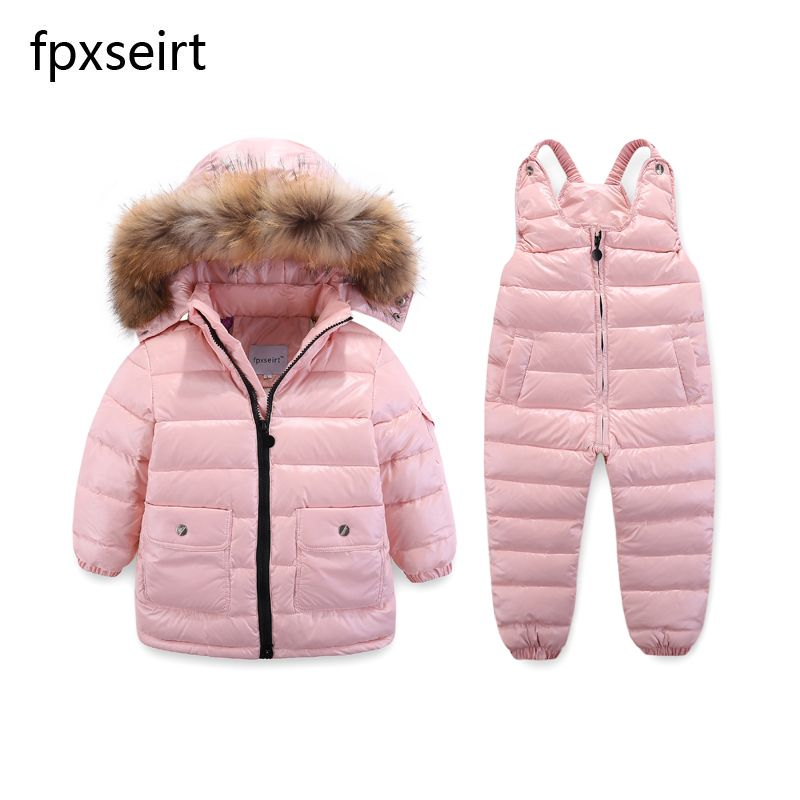 Children's Clothing Winter Jacket For <font><b>Girls</b></font> Boys White Duck Down Jacket+Pants Suit Solid Thick outerwear & coats Waterproof