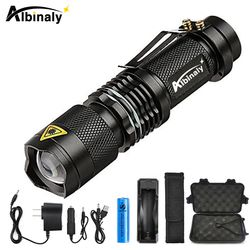 Albinly LED Flashlight Zoom CREE XML-L2 Led Torch 5 mode 8000 Lumens waterproof Use 18650 Rechargeable battery sent free gift