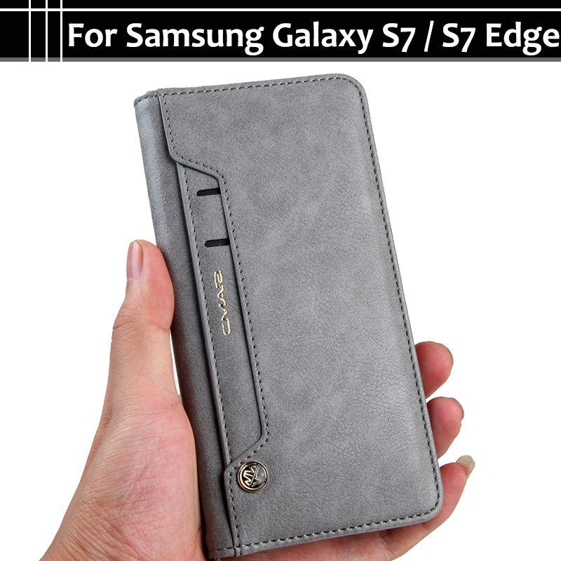 EiiMoo Téléphone Cas Pour Samsung Galaxy S7 S 7 Bord S7Edge Stand Carte PU Portefeuille En Cuir Flip Couverture Pour Sumusng galaxy S7 Bord Cas