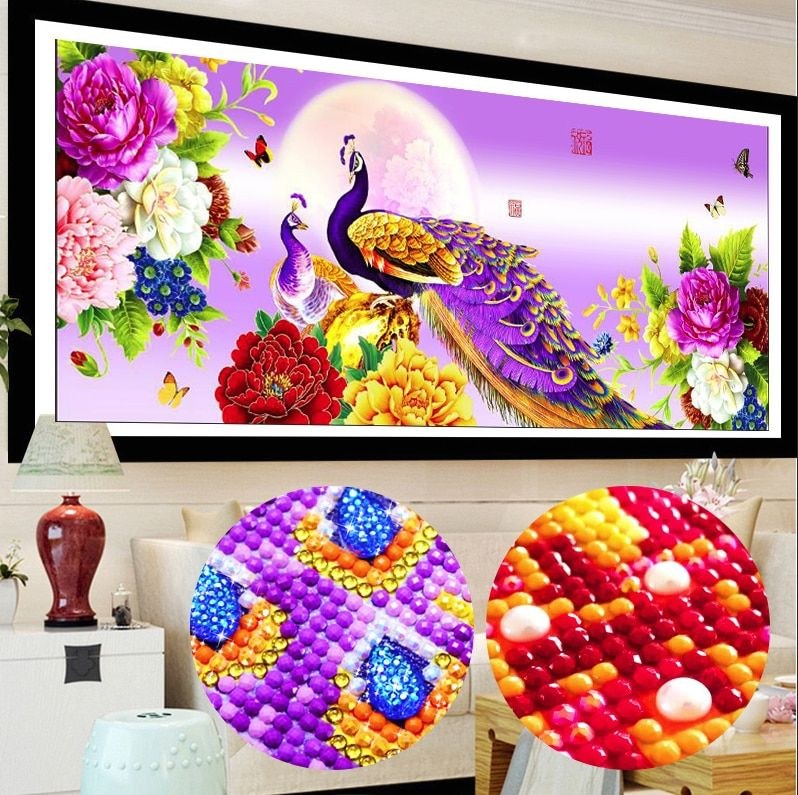 New Home Decoration 5d Diy Diamond Painting Peacock Peony Cross Stitch Diamond Embroidery Crystal Round Diamond Mosaic Pictures