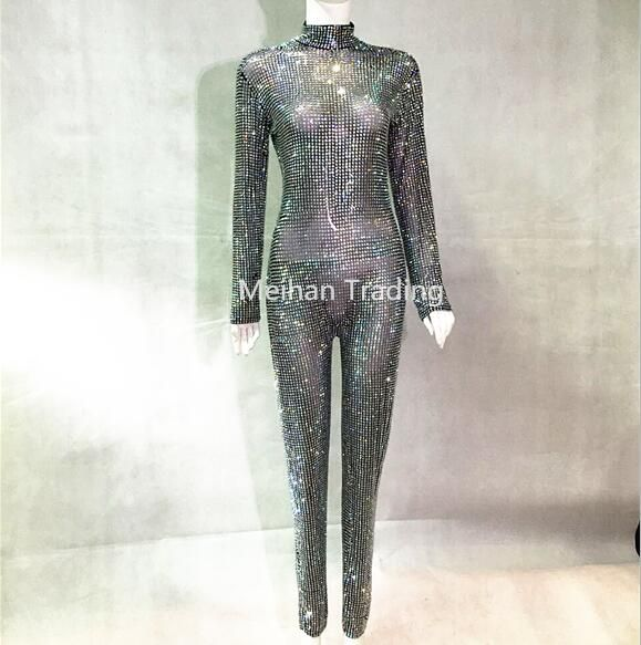 Sparkly Full Crystals Jumpsuit Prom Luxury Bodysuit Outfit Party Celebrate Glisten Crystals Costume Bodysuit Stage Show Rompers