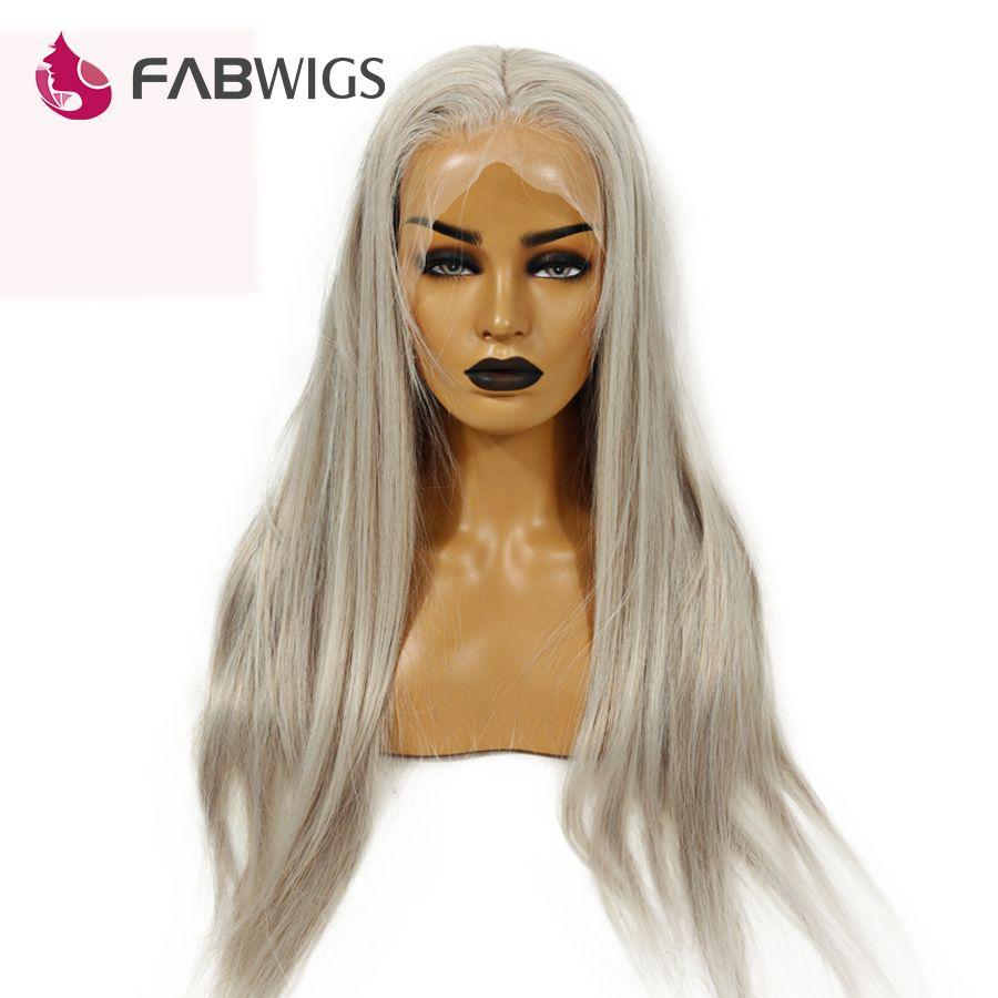 Fabwigs 150% Dichte Transparent Volle Spitze Perücke Pre Gezupft Asche Blonde Menschliches Haar Perücken Brasilianische Gerade Remy Haar Grau Farbe