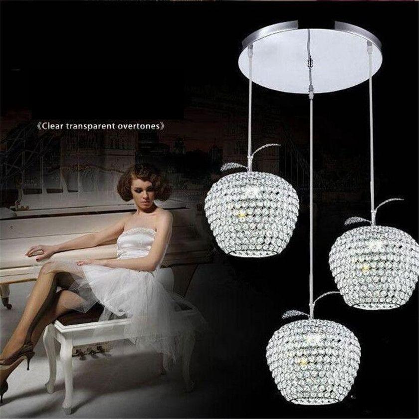 Lustres Apple Crystal Led Pendant Lamp Luminarias Aisle Balcony Pendant light Chrome Lighting Fixtures Abajur E27 Suspended Lamp