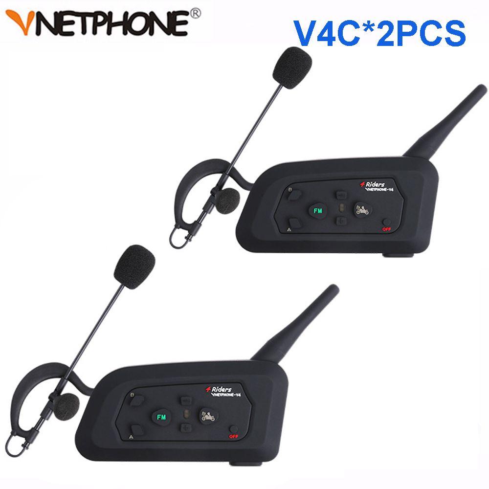 2 stücke Vnetphone V4C 1200 mt Volle Duplex Fußball Schiedsrichter Intercom Headset Bluetooth Kopfhörer mit FM Radio BT Sprech Kopfhörer