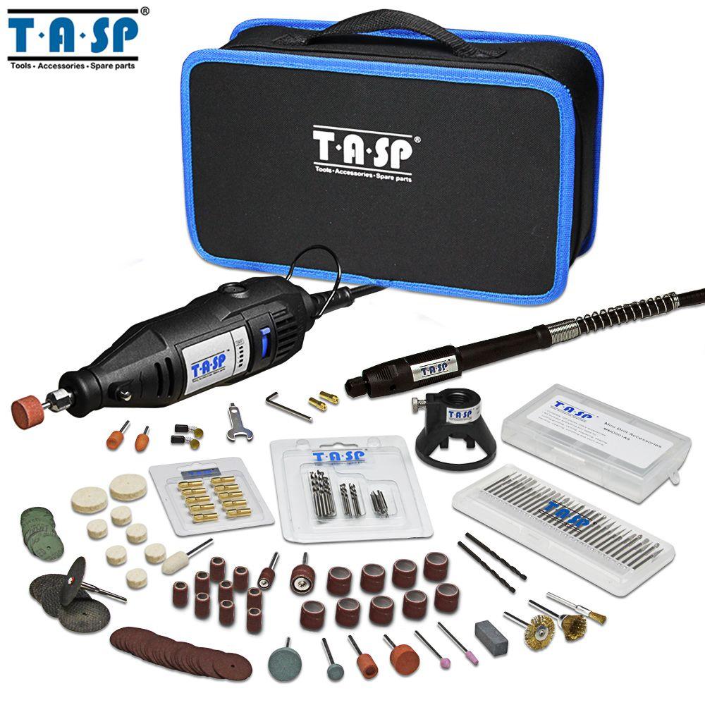 TASP 230V 130W ensemble d'outils rotatifs Mini perceuse électrique Kit de graveur avec accessoires et accessoires outils électriques pour projets d'artisanat
