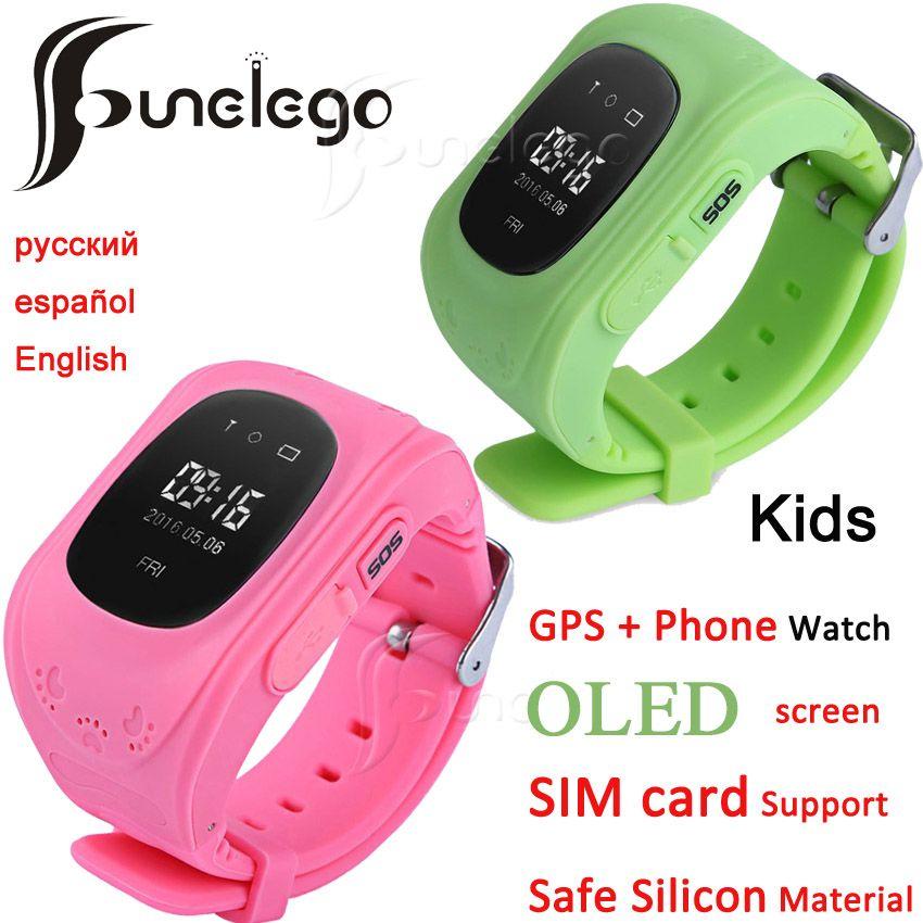 Funelego q50 montre intelligente pour enfants GPS Tracker pour enfants écran OLED portable avec fente pour carte SIM téléphone portable bébé montre
