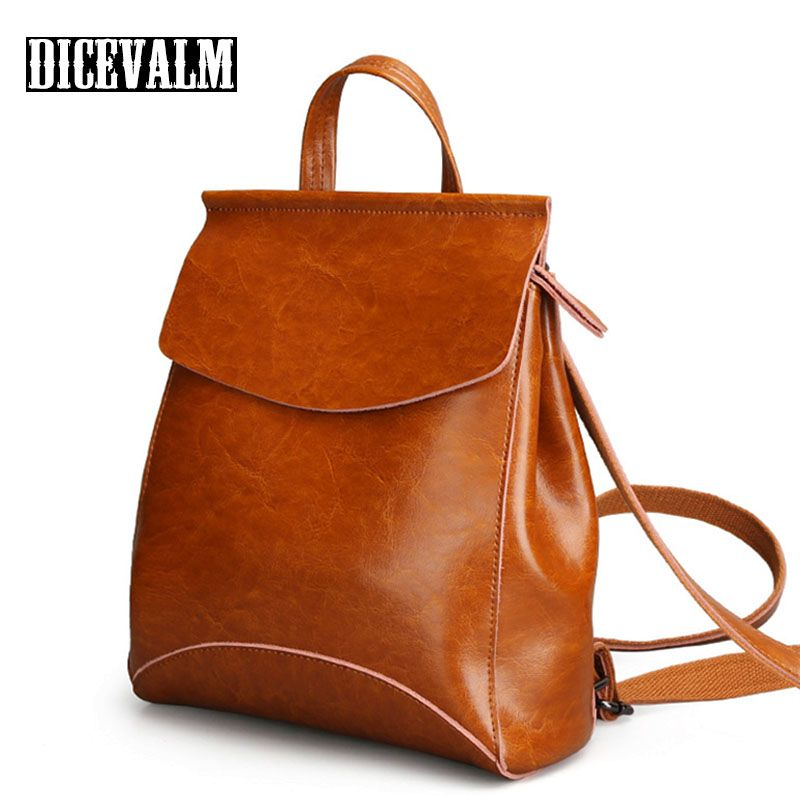 Mode-Design Rucksack Weiblichen Leder Echtes Reisetaschen Schule Taschen Für Teenager Mädchen Mochila Feminina Zurück Pack Dame Tasche