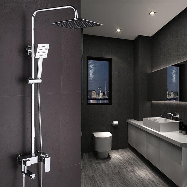 Shower Faucet Chrome Brass Wall Mount Square Big Rain Shower Set Faucet Bathroom Adjust Height Handheld Bathtub Mixer Tap 5811