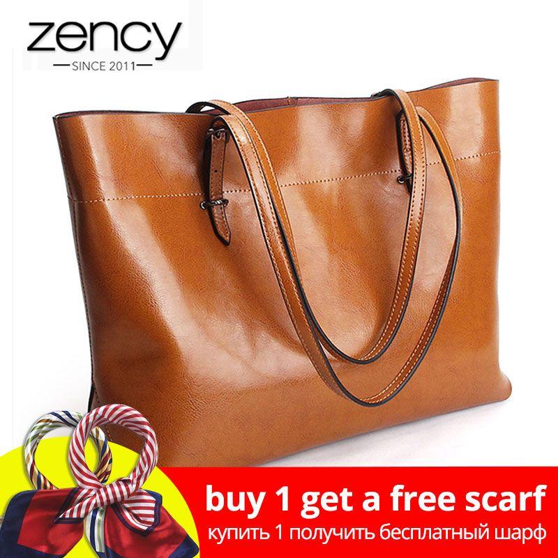 2019 New Style Brown Women Handbag 100% Genuine Leather Female Shoulder Purse Ladies Black Tote Bag Large Capacity Shopping Bags
