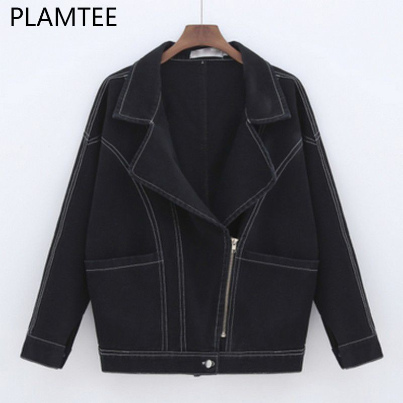 PLAMTEE Fashion BF Wind Black Denim Jacket for Women 2017 Autumn Batwing Sleeve Zipper Casaco Feminino Casual Wild Jaqueta Jeans