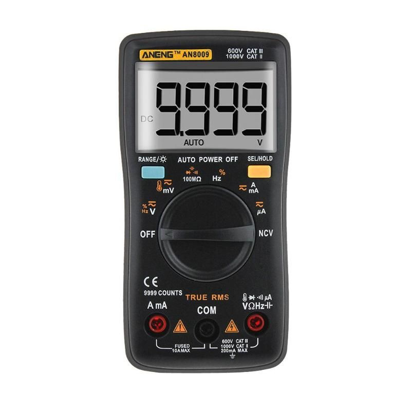 AN8009 Digital Multimeter LCD Display Automatic Range Backlight Ammeter Voltmeter Inductance Meter Transistor Current Tester