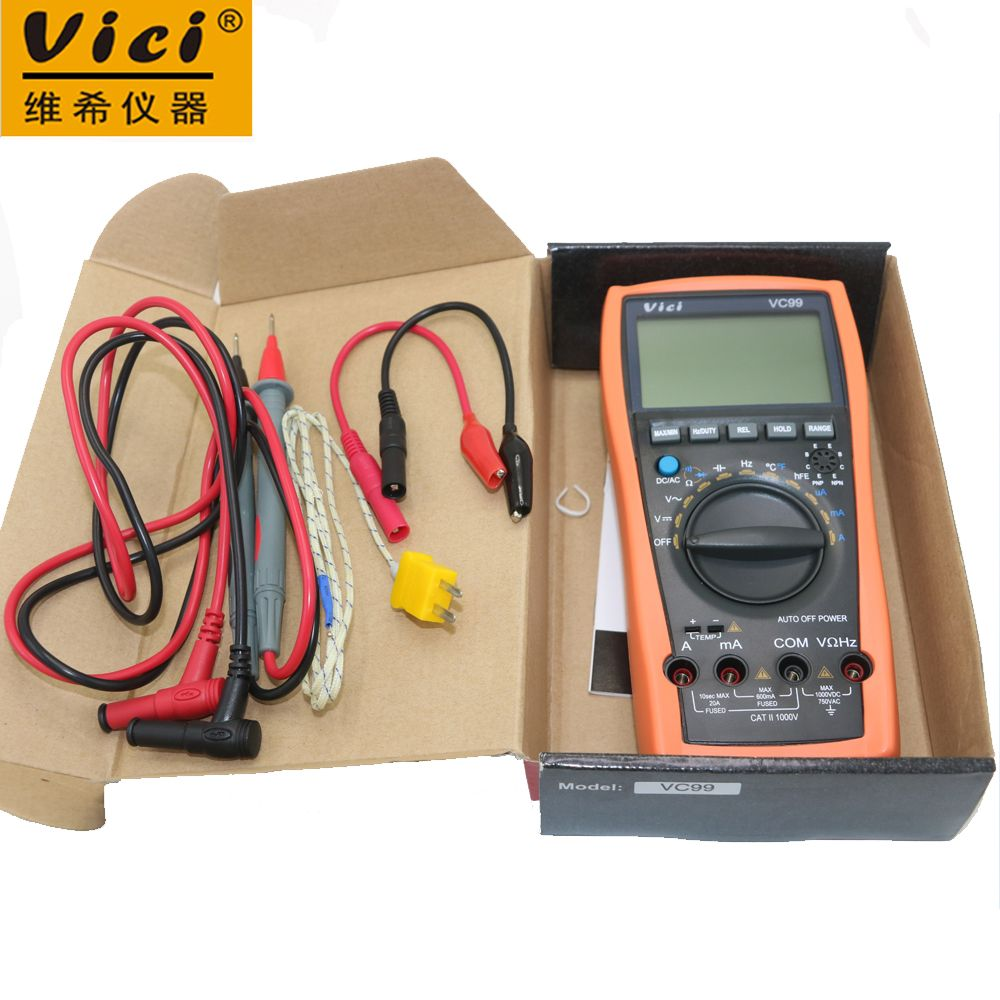 Vici VC99 Auto Range 3 6/7 Analog read Digital Multimeter 20A Resistance Capacitance ACV/DCV/ACA/DCA Meter & Probe with Box
