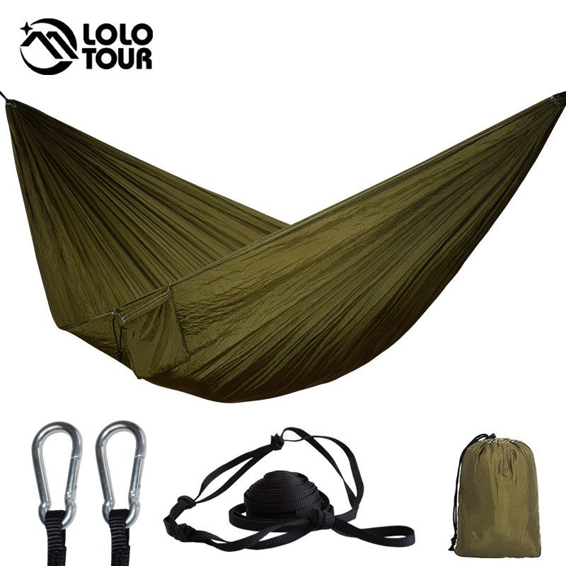 24 couleur 2 Personnes Portable Parachute Hamac Camping Survie Jardin Flyknit Chasse Loisirs Hamac Voyage Double Personne Hamak