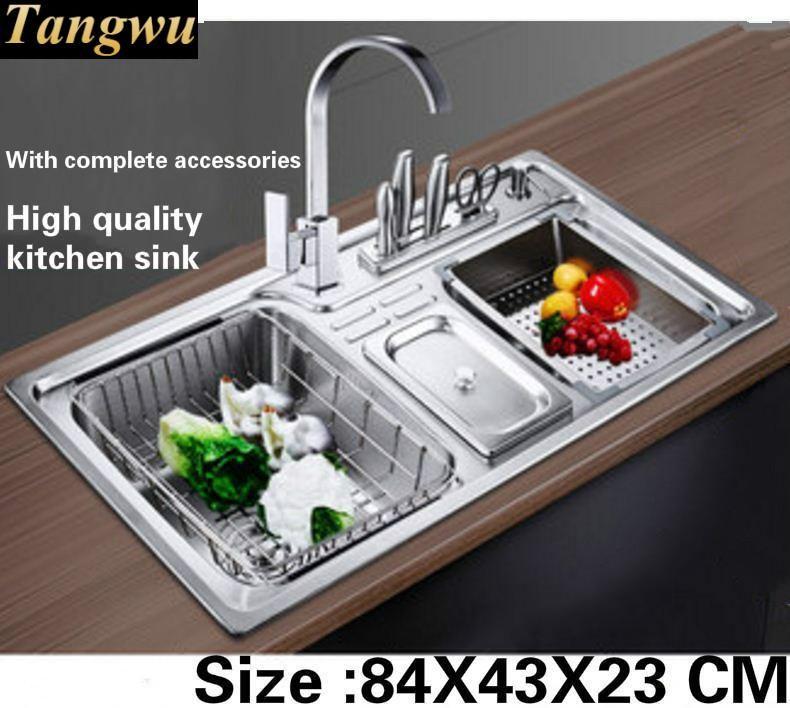 Tangwu Die küche großen waschbecken lebensmittelqualität 304 edelstahl mit dicke doppel nut Mit komplettem zubehör 84x43x23 cm