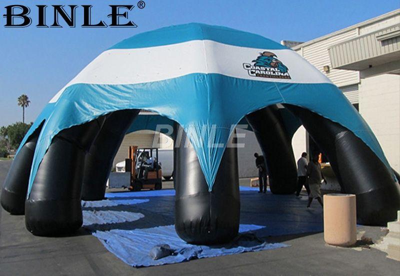 Custom hohe qualität durable wasserdicht aufblasbare spinne zelt kuppel zelt mit blau baldachin abdeckung für auto ausstellung