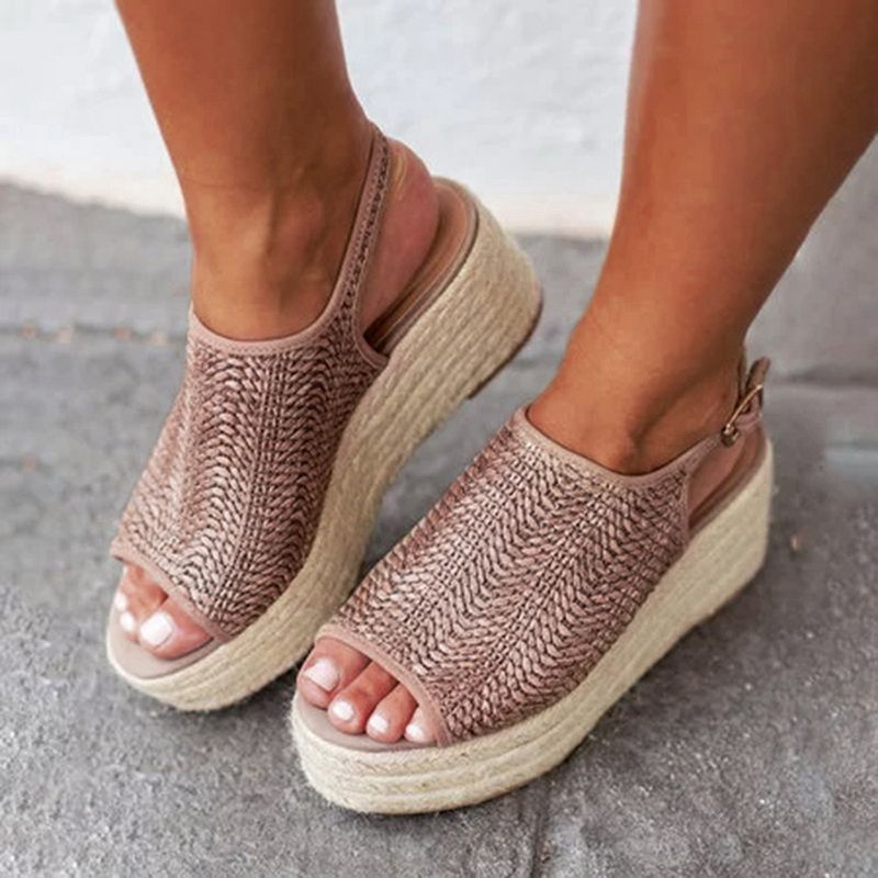 Oeak Summer Women Hemp Sandals Fashion Female Beach Shoes Heels Shoes Comfortable Platform Shoes