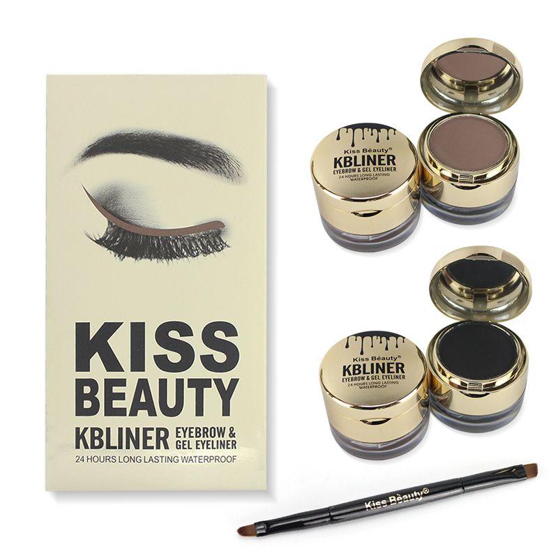 Brand Eye Makeup Gel Cream Eyebrow +Gel Eyeliner 2 pcs 24 Hours  Lasting Waterproof Eyebrow Enhancer Cream Eyeliner Comestics