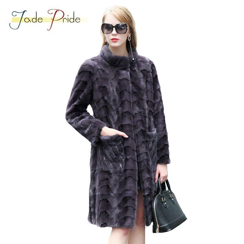Jade Stolz Real Nerz Mantel Vogue Frauen Lange Parka 2017 neue Winter Stehkragen Volle Hülse Büro Dame Casual Warme Jacken