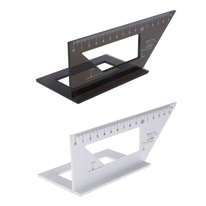 Aluminum Alloy Woodworking Ruler Multifunctional Square 45 degree 90 degree Gauge Rule L15