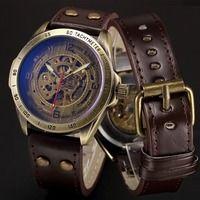 Esqueleto mecánico reloj automático de viento para hombre relojes de pulsera Steampunk de cuero transparente reloj de pulsera reloj montre homme