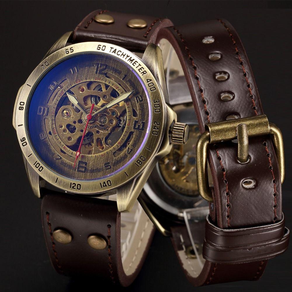 Mechanical Skeleton Watch Men Automatic Self Wind Mens Wrist Watches Steampunk Transparent Leather Wristwatch Clock montre homme