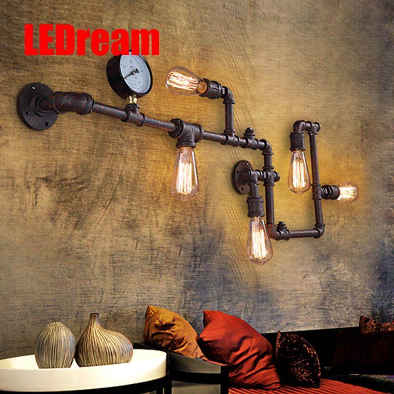 90-260V e27 eison bulb Industrial wind retro pipe gauge wall lamp loft corridor light bar coffee shop decoration wall lights