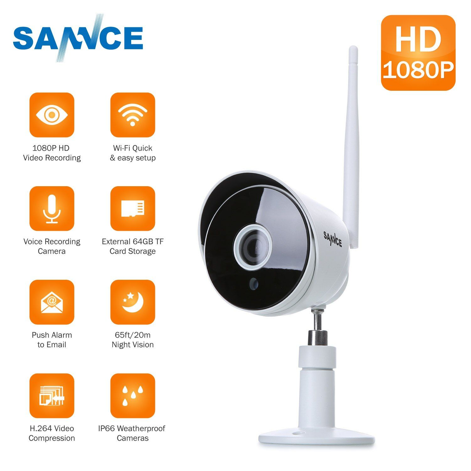 SANNCE HD 1080P Wireless IP Camera Wifi Surveillance Camara Outdoor Waterproof Night Vision Onvif P2P Home Security CCTV Camera