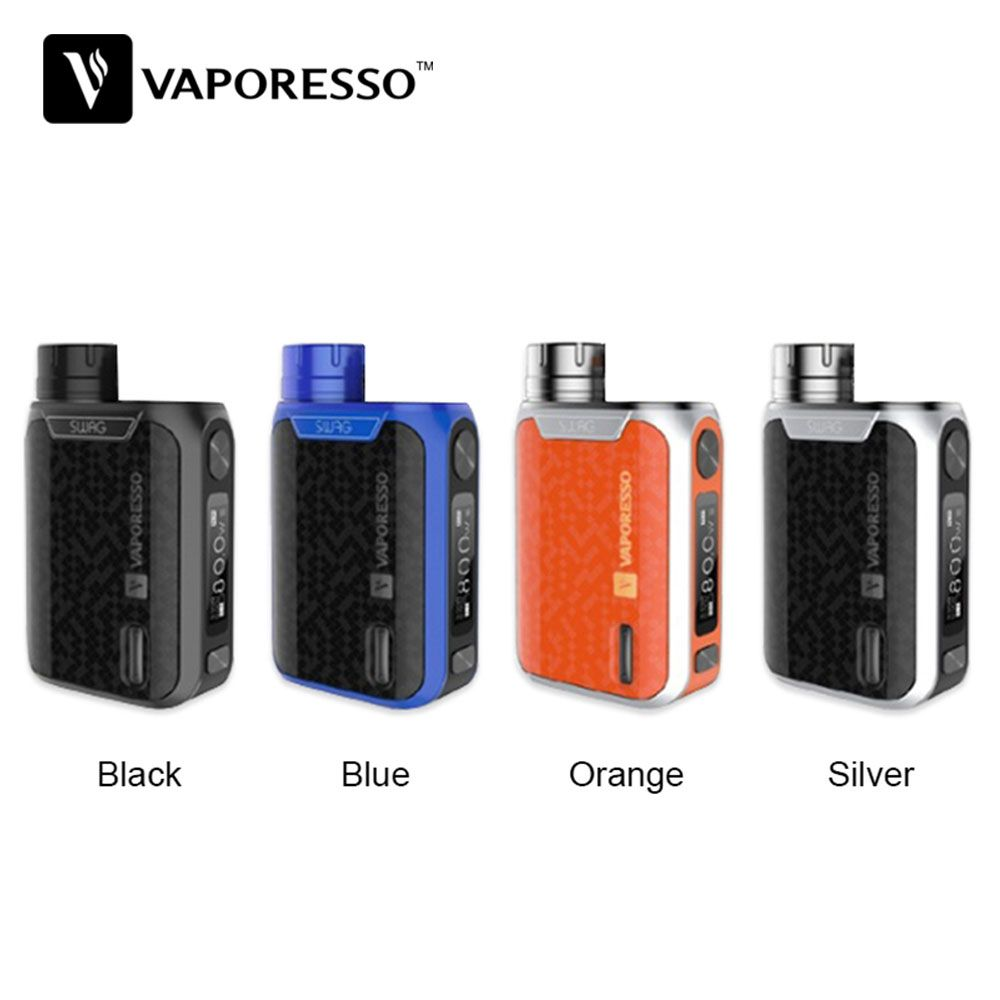 Original Vaporesso Swag TC Box MOD 80W W/ 0.91-inch Screen for NRG SE / NRG SE Mini Tank Atomizer No 18650 Battery E-cig Box Mod