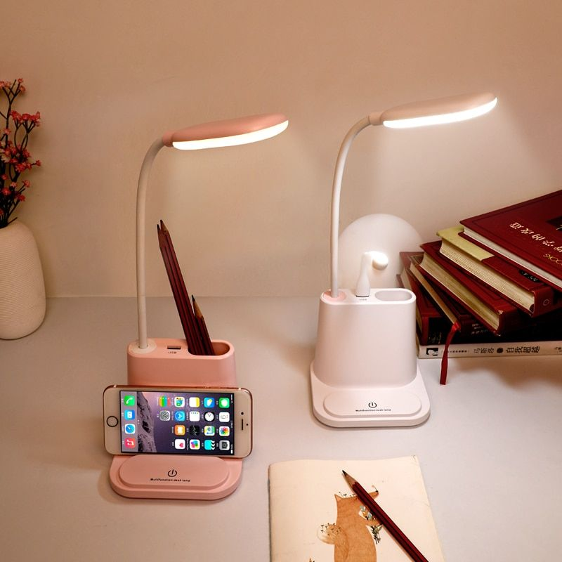 0-100% Touch Dimmable Led Desk Lamp USB Rechargeable Adjustment for Children Kids Reading Study Bedside Bedroom Living Room