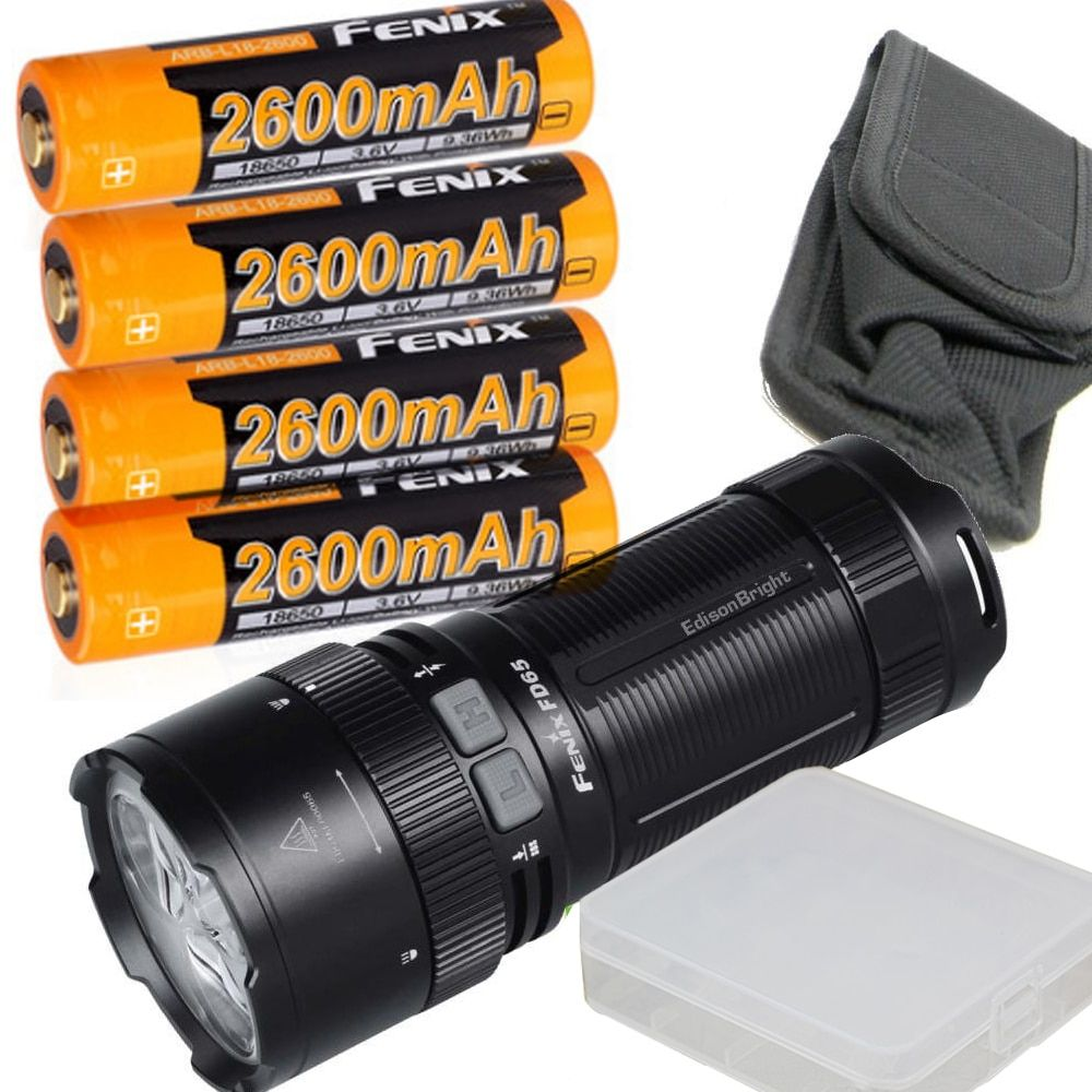 Fenix FD65 3800 Lumens High Performance Focusable Zoomable LED Flashlight with 4 x 2600mAh 18650 Rechargeable Batteries