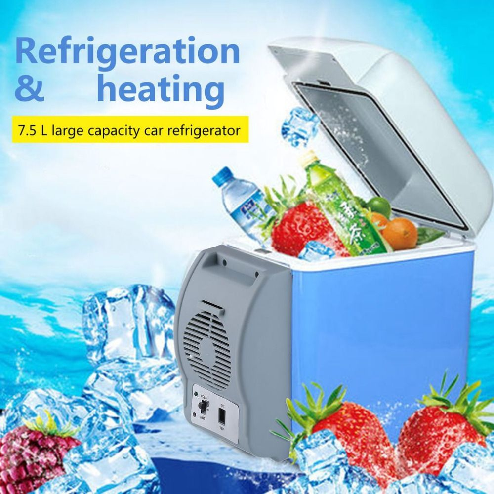 New 7.5 L Portable Mini Large Capacity Car Electric Fridge Travel Refrigerator Box Cooler&Warmer Heating Cooling 12V With Strap