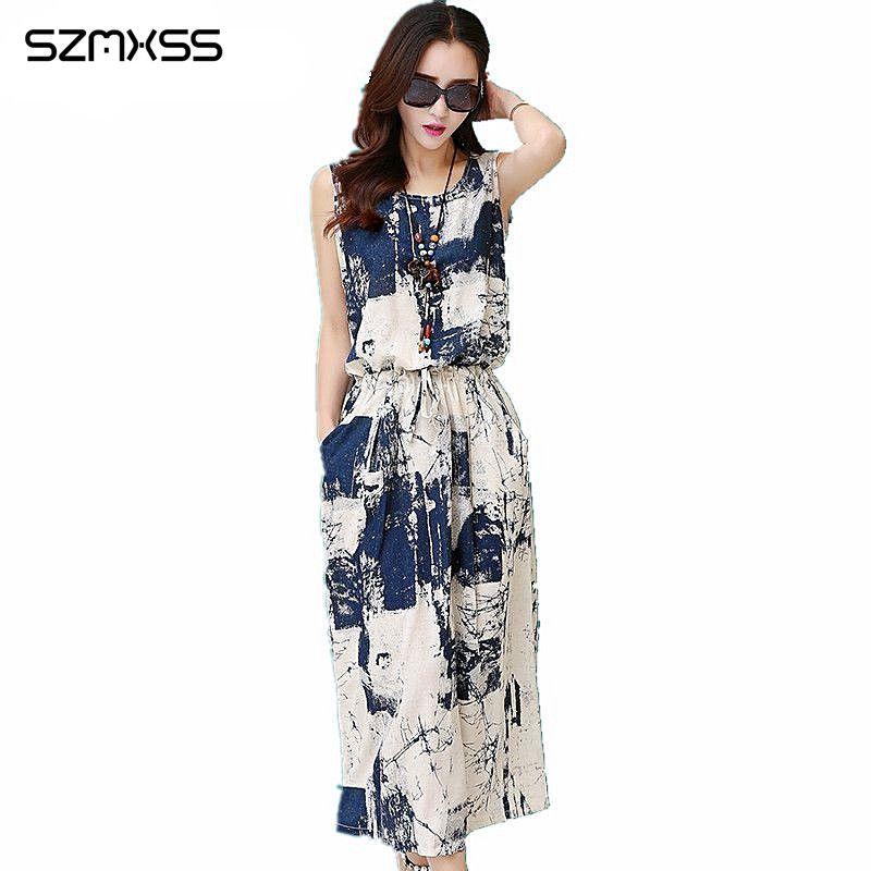 Frauen Sleeveless Langes Maxi Baumwolle Leinen Kleid Weibliche Sommer Casual Vintage Blumendruck Kleider Kleidung Vestido Robe Longue