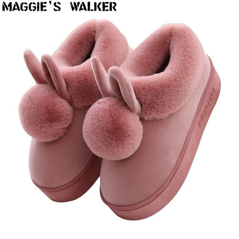 Andador de Maggie Moda Mujer Flock Zapatillas Lindos Interiores de Piel Casuales Zapatos de Plataforma de la Felpa Zapatos de Invierno Cálido Tamaño 35 ~ 41