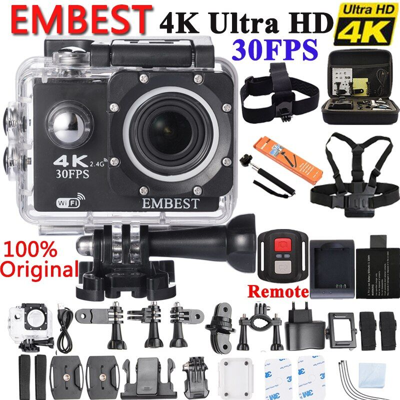 EMBEST 4K WIFI Sports Action Camera With Remote Control Ultra HD Waterproof Underwater 30M Camcorder 16MP 170 Degree Wide Angle