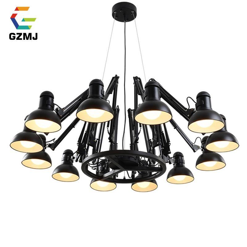 GZMJ Vintage Metal LED Chandelier Lighting 110-240V 6/9/12/16 Heads Spider Ceiling Chandelier Bedroom Living Room Chandeliers