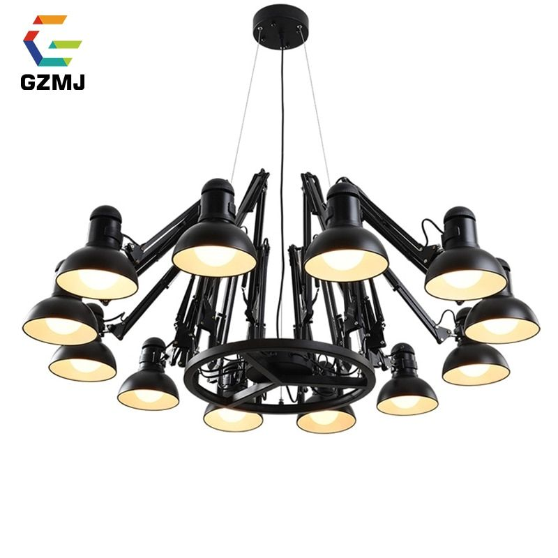 GZMJ Vintage Metal LED Chandelier Lighting 110-240V 6/9/12/16 Heads Spider Ceiling Chandelier Bedroom Living Room Chandeliers