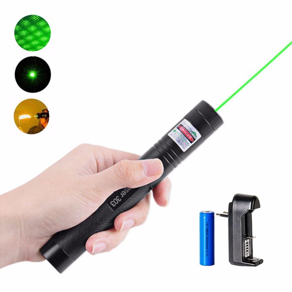 Haute Puissance Vert Pointeur Laser 5 mW 532nm 303 Stylo Laser Réglable Puissant Étoilé Tête Allumette Brûlante Avec 18650 Batterie + chargeur