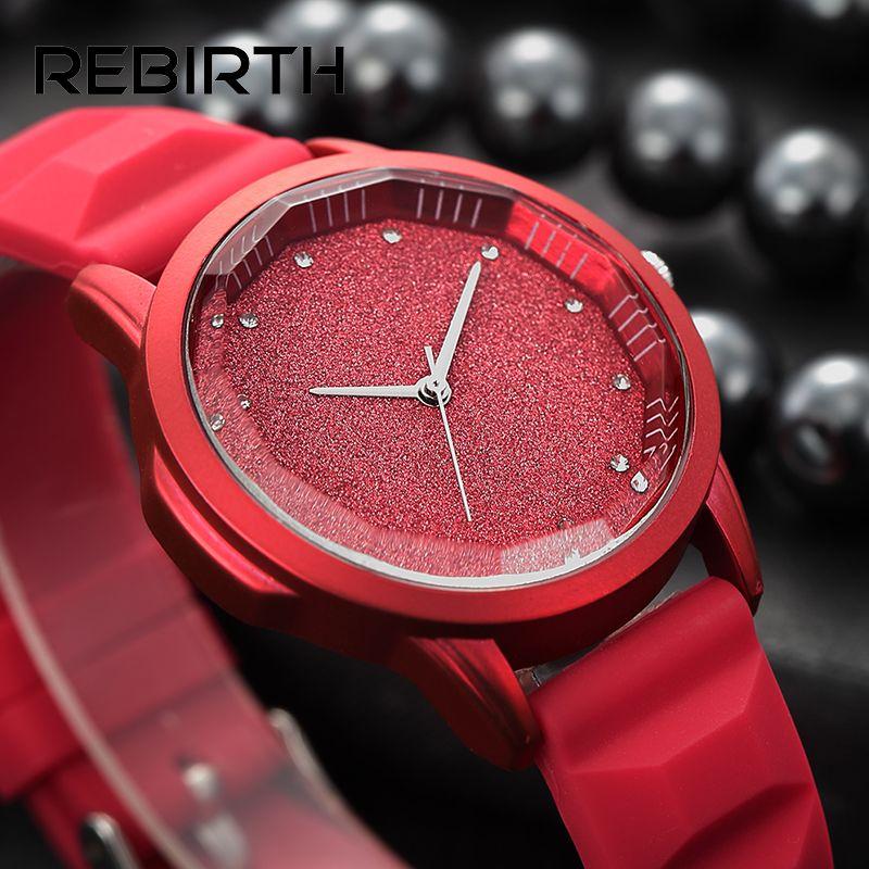 Cielo estrellado tonneau dial silicona suave mujer relojes simple diamante elegante relojes Rebirth marca rojo cuarzo-reloj