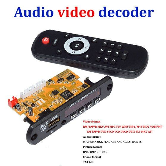 Stereo Video Decoder Board DIY TV BOX RM/RMVB FLAC APE BT eBook Usb-audio-decodierungsmodul MP3 AUX CVBS DDR2 U disk und TF USB FM