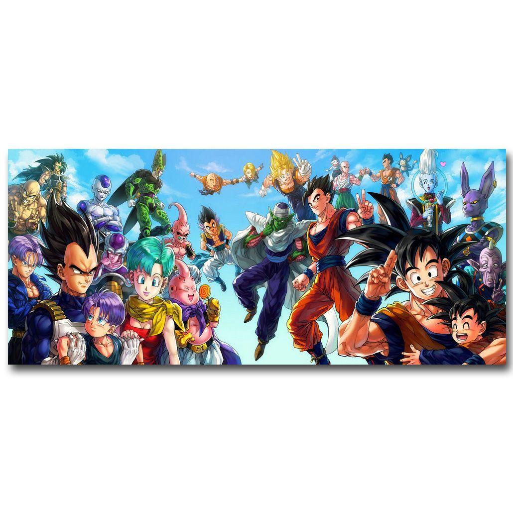 Dragon Ball Z Art affiche en tissu de soie impression 13x30 24x55 pouces japonais Anime Goku photo pour salon décoration murale cadeau 057