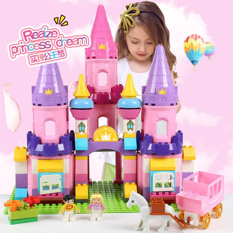 Girls Princess Castle Big Size Building Blocks Sets Toys for Girls Compatible LegoING Duplo Horse Friends Figures Creator Bricks