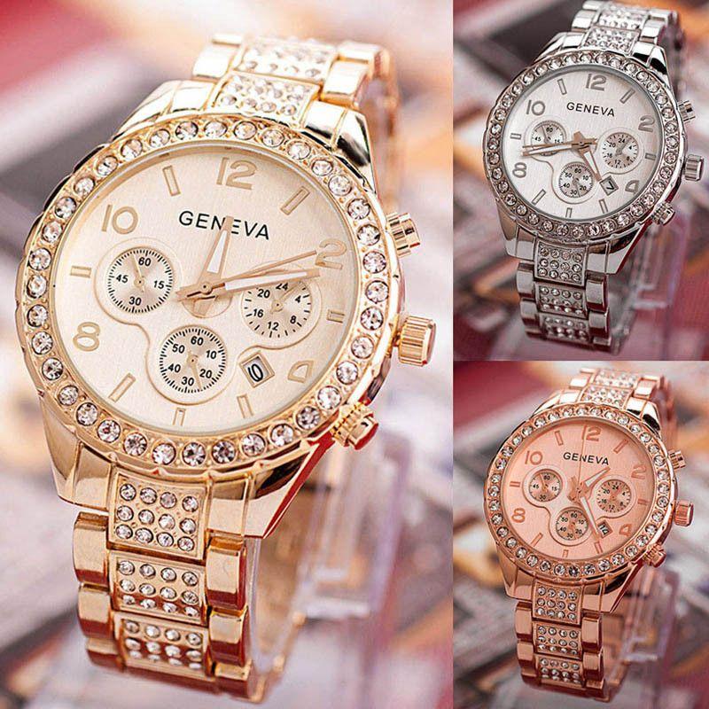 Durable 2016 caliente moda FHD marca de lujo fecha Ginebra moda mujer lujo metal de cristal de cuarzo Relojes